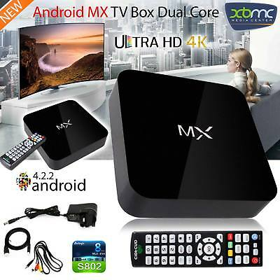 New MX Android TV Box Dual Core 4.2 Full HD 1080P Media Streaming Player Box UK