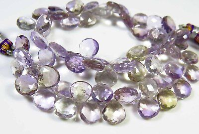 """AMETRINE FACETED BEADS NATURAL GEMSTONE HEART SHAPE 85 - 166 Cts. 9"""" STRAND"""