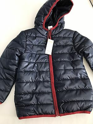 NWT Gymboree Boys 5-6 Navy/Burgundy Puffer Style Lightweight Coat Zipper Hoodie