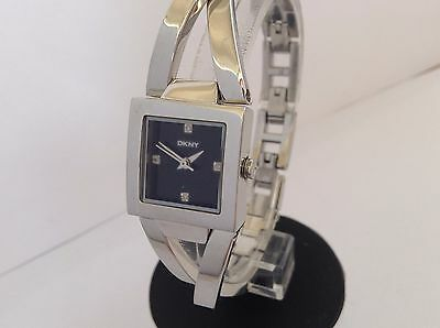 DKNY NY8456 Crosswalk Ladies Black Square Dial Silver Tone Stainless Steel Watch