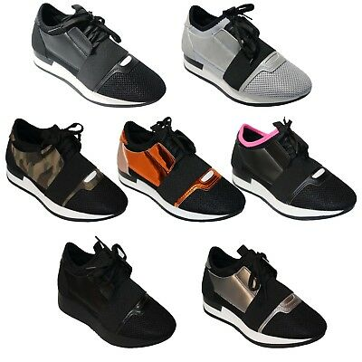 Ladies Womens New Comfy And Light Runner Lace Up Trainers For Walking And Gym
