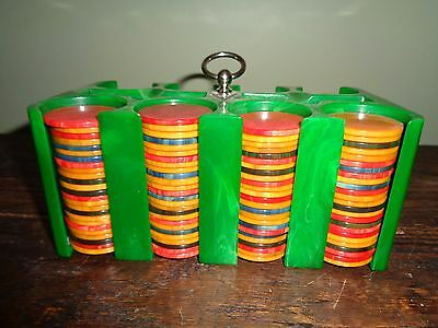 Emerald green swirled catalin poker chip holder with 200 catalin chips.