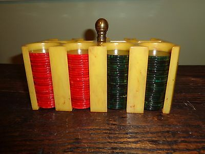 Pistachio catalin poker chip holder no damage with 200 catalin chips!.
