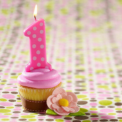 Girls Jumbo Birthday Cake Candle Giant 11.5cm Polka Dot Number Topper Party 0-9