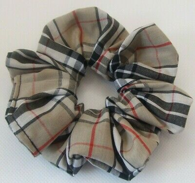 Beige Tartan Scrunchie Hair Elastic Band Bobble Ladies Girls