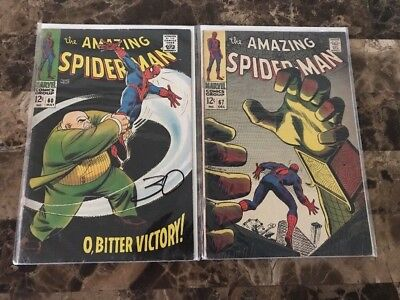 The Amazing Spider-Man #60 & 67 ==> Vg 2Nd Kingpin & Mysterio Issue Marvel 1968