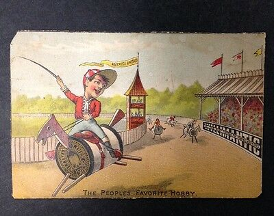 """Antique 1881 Victorian Trade Card """"America Ahead"""" Willimantic The Best Thread"""