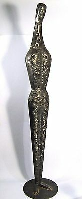 """39"""" Mid-Century Giacometti Brutalist Style Hammered Metal Sculpture Abstract Man"""