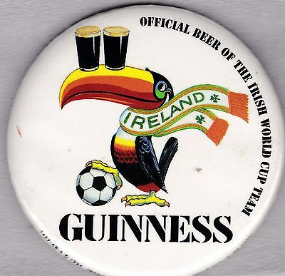 Rare, vintage Guinness Beer button - Official Beer of the Irish World Cup Team
