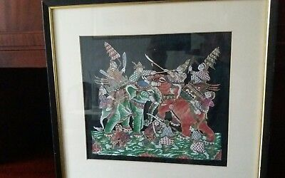 Unusual framed silk picture