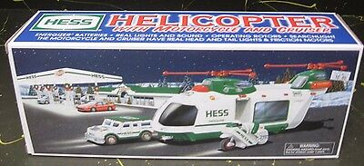 NEW HESS Toy Helicopter w/ Motorcycle & Cruiser Car MIB