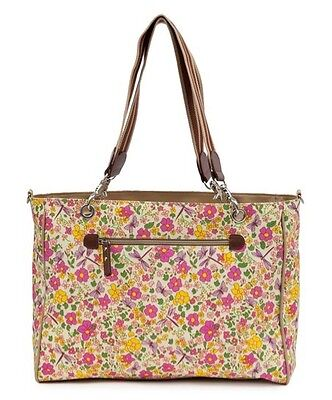 PINK LINING Beige Cottage Garden Bramley Tote Diaper Bag Handbag changing pad NW