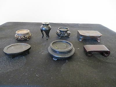 Nice Group of & Miniature Chinese Carved Wood Stands Snuff Bottles