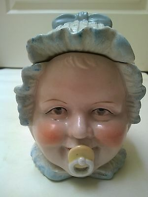 Antique Pottery Figurine of Baby Head Cookie Jar 13,5 cm high