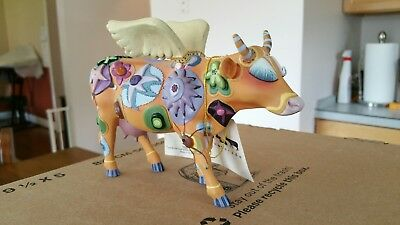 """COW PARADE ANGELI COW""""  #9127   COW WITH LASHES AS ANGEL (repaired)"""