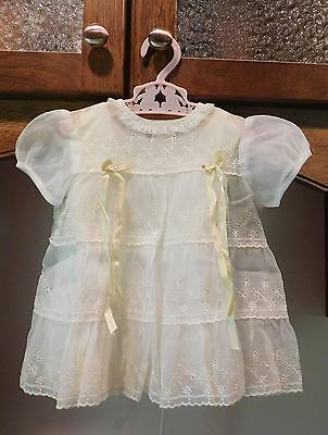 Vintage Sheer Embroidered Eyelet Infant Doll Baby Party Dress & Slip Ivory 12 Mo