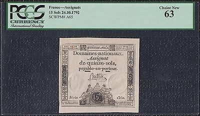 PCGS Assignat 15 Sols from France 24.10.1792 Choice New 63