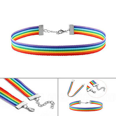 Rainbow Gay Pride Choker Necklace LGBT Hippy Boho Unisex Pendant Multi Color