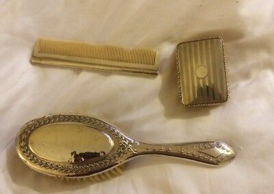 Hallmarked English Silver Dressing Table Two Brushes And Comb