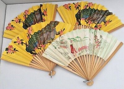 "Vintage LOT of 4 Hand Folding Paper Peacock and Landscape Fans 9"" Yellow White"