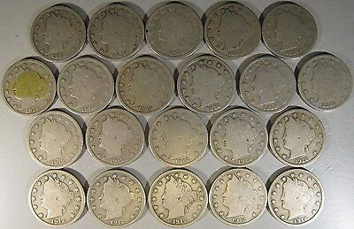 1912 D Liberty Nickels, Lot of 21, Circulated         ** FREE U.S. SHIPPING **