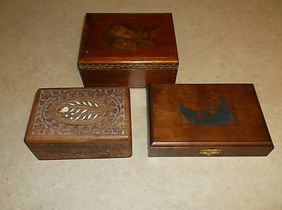 Lot of 3 Antique / Vintage Ornate Wooden Boxes