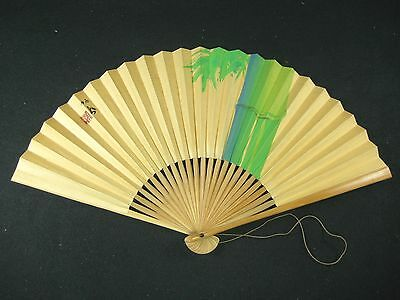 Vintage Japanese Signed Folding Hand Painted Fan Bamboo