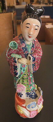 "Antique Vintage China Chinese 10"" Famille Rose Wind Woman Figurine"