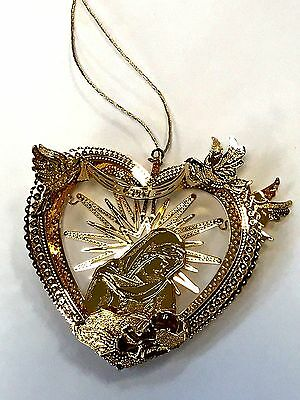 DANBURY MINT 23kt GOLD PLATED BABY JESUS IN HEART ORNAMENT