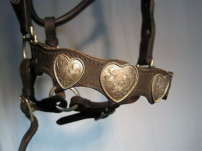 Horse Harness Vintage Leather Dress  Engraved Heart Medallions Buckles