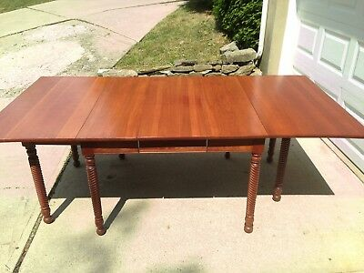 Rare H Willett Wildwood Solid Cherry Drop Leaf Spiral Gate Leg Table  With Leaf