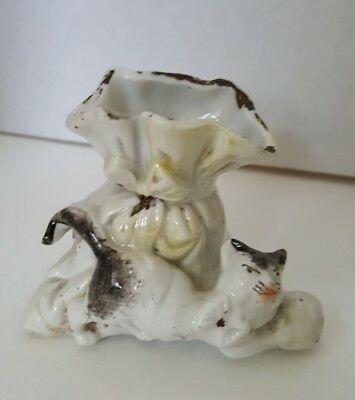 "Antique 19th Century Fairing Porcelain Cat W/Ball and Sack 3 3/4"" L 3"" T ~"