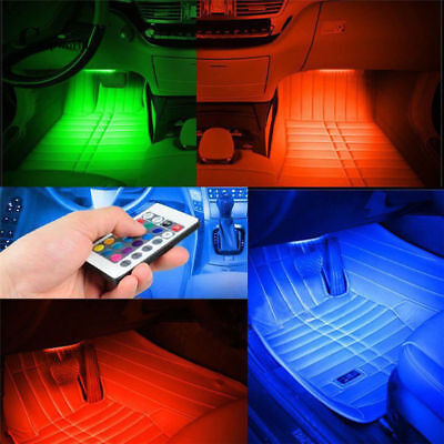 set 4 x 9 LED for Car Charge Interior RGB Light Foot Car Decor atmosphere light