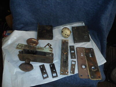Lot Of  Vintage Antique Hardware Door Locks & Parts