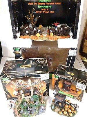 Lemax Spooky Town Triolgy Ghouls Night Out Spooky Knoll& Pumpkin Patch