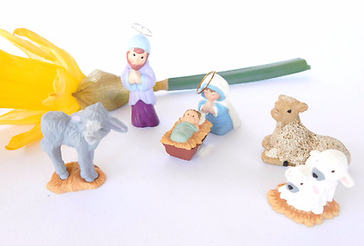HALLMARK MERRY MINIATURE Mary Joseph HALO NATIVITY Christmas 1988 Holy Family