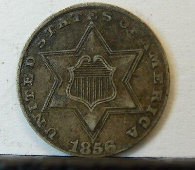 1856 U.s. 3 Cent Silver Coin