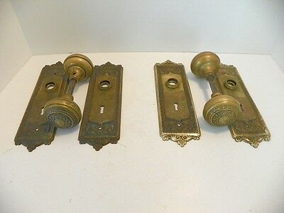 2 Brass Antique Victorian Ornate Door Knob Sets, Knobs & Back Plates,