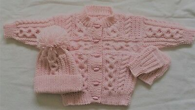 Hand Knitted Girls Aran Cardigan Jacket Hat Mitts 1-2 yrs years 22 inch Pink