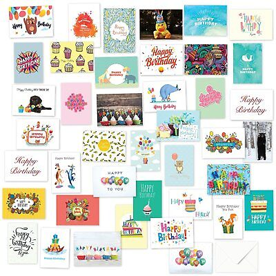 48 Pack Children Birthday Cards Bulk Box Set with Envelopes Included 4 x 6 Inch