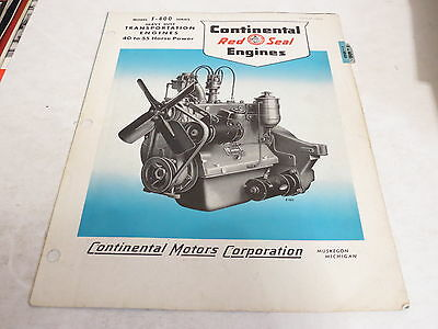 * Vintage Continental Red Seal Engines Brochure *