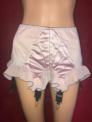 BETTIE PAGE by SECRETS IN LACE WOMEN'S PINK SATIN NYLON GARTER BELT LARGE SEXY