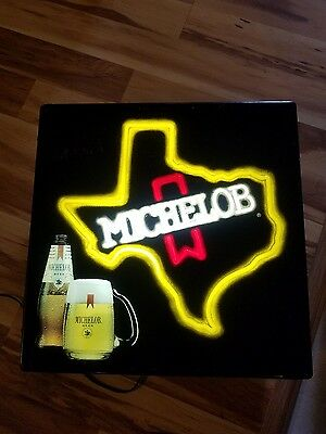 "Vintage Lighted Michelob Sign TEXAS STATE, 18' x 18"" ,Works"