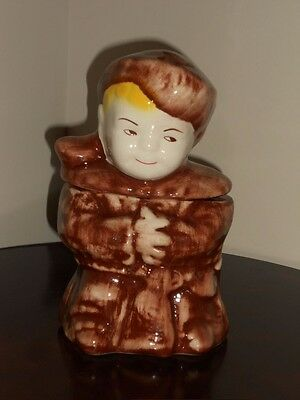 "RARE Vintage McCoy Brush Pottery Boy Cookie Jar - 1950's  10"" T x 6"" W x 6"" D"