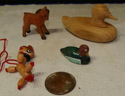 Lot of 4 Vintage Carved Wood Animal Figurines, 2 Ducks, Horse and Puppet Dog