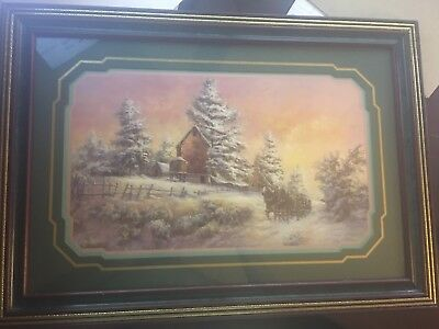 Lee K Parkinson Professional Frame Snow and Carriage Scene