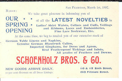 "UX12; ""Women's Clothing Novelties""; San Francisco, 1897"