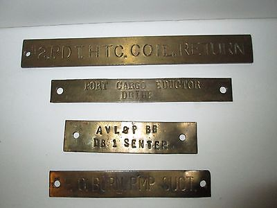Set Of (4) Antique Maritime / Nautical Brass Ship Signs