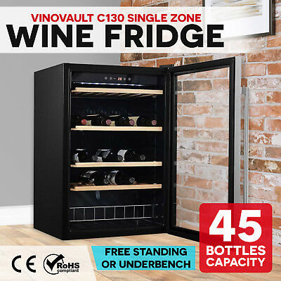 NEW 45 Bottle Wine Fridge Single Zone Underbench Cooler Stainless Steel Black