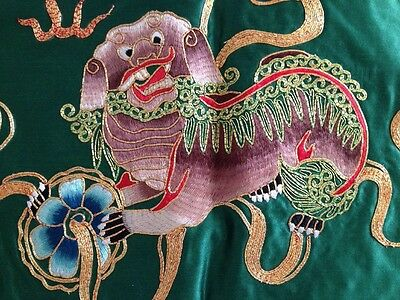 Vintage Chinese Silk Embroidery Doily Wall Decor Gold Lion